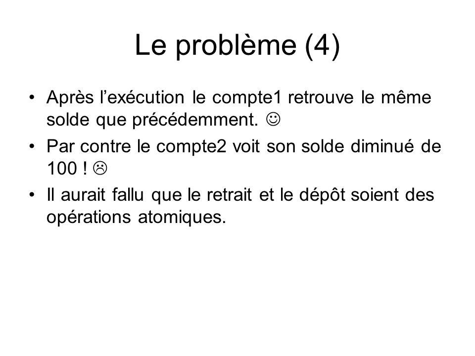 FutureTask (1) utilisation avec une CyclicBarrier : FutureTask ft = new FutureTask ( new SommeCall(résultats)));; barrier = new CyclicBarrier(nbLignes, ft); for (int i = 0; i < nbLignes; i++) new SommeLigne(barrier, matrice[i], résultats, i).start(); try { System.out.println( la somme = + ft.get()); } catch (InterruptedException e) { e.printStackTrace(); } catch (ExecutionException e) { e.printStackTrace(); }