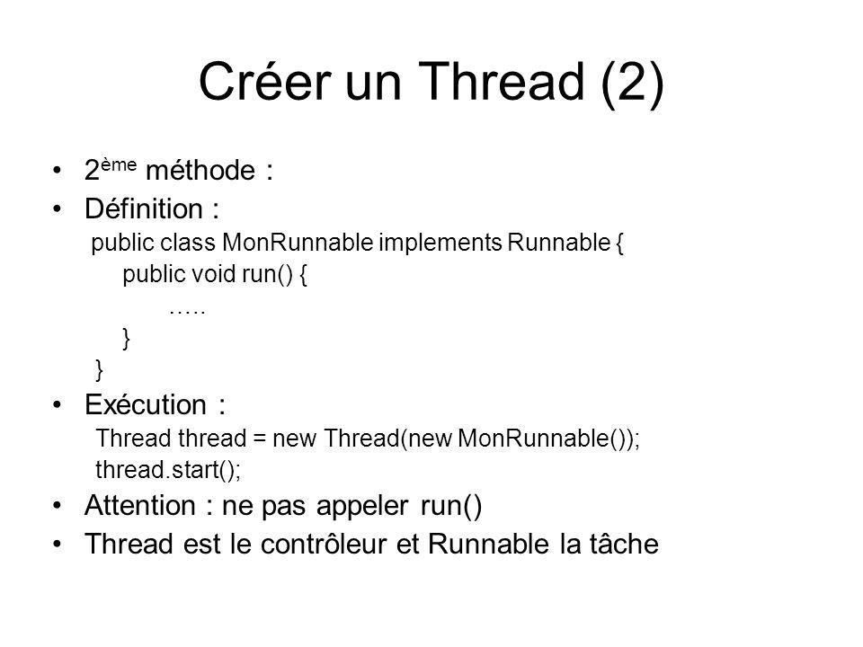 Cycle de vie Le Thread existe depuis quon a appelé son constructeur Avant dappeler start(), on pourra procéder à des initialisation Après quil ait terminé lexécution de run(), le Thread continue à exister.
