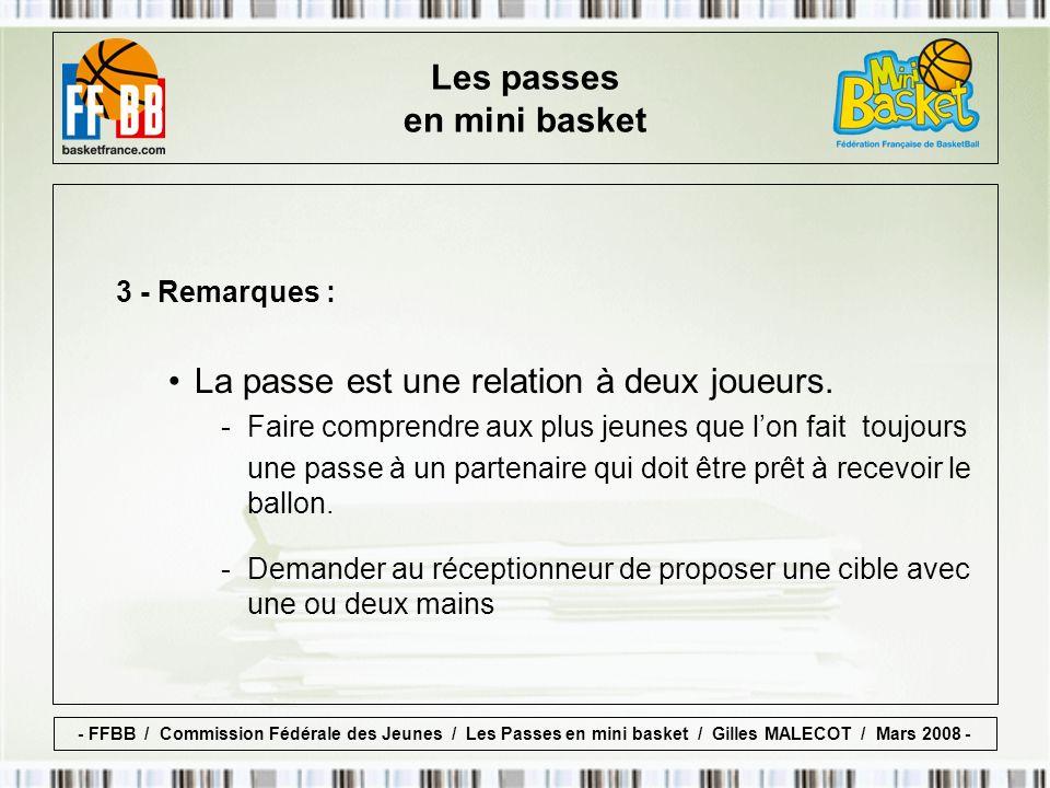 3 - Remarques : La passe est une relation à deux joueurs.