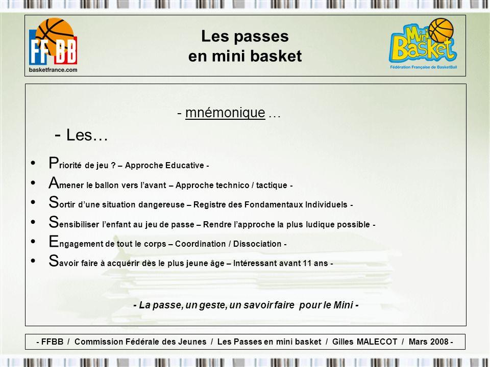 Déroulement … - La passe, un geste, un savoir faire pour le Mini - LAnimateur mettra en place… Les passes en mini basket - FFBB / Commission Fédérale des Jeunes / Les Passes en mini basket / Gilles MALECOT / Mars 2008 -