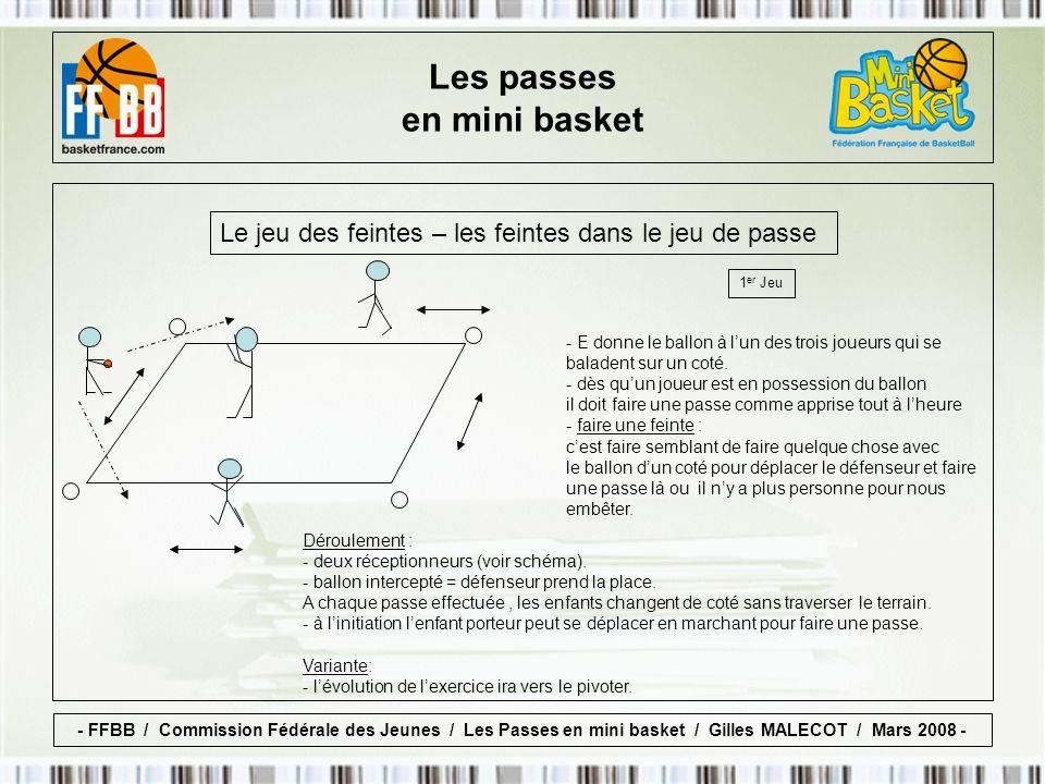 Le jeu des feintes – les feintes dans le jeu de passe 1 er Jeu Déroulement : - deux réceptionneurs (voir schéma).