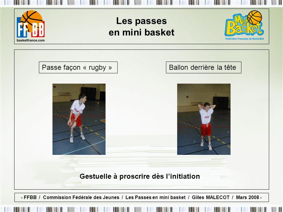 Passe façon « rugby » Gestuelle à proscrire dès linitiation Ballon derrière la tête Les passes en mini basket - FFBB / Commission Fédérale des Jeunes / Les Passes en mini basket / Gilles MALECOT / Mars 2008 -