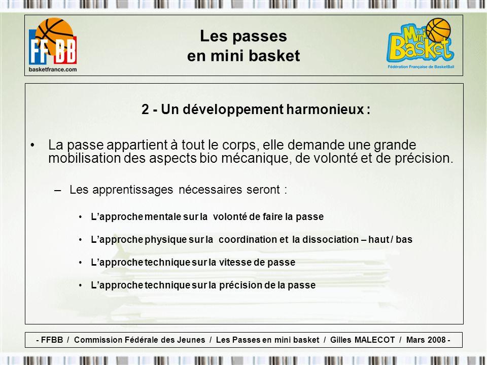 3 - Enrichissement du registre des fondamentaux individuels : Les passes doivent être un apprentissage privilégié pour les enfants, particulièrement dans le mini.