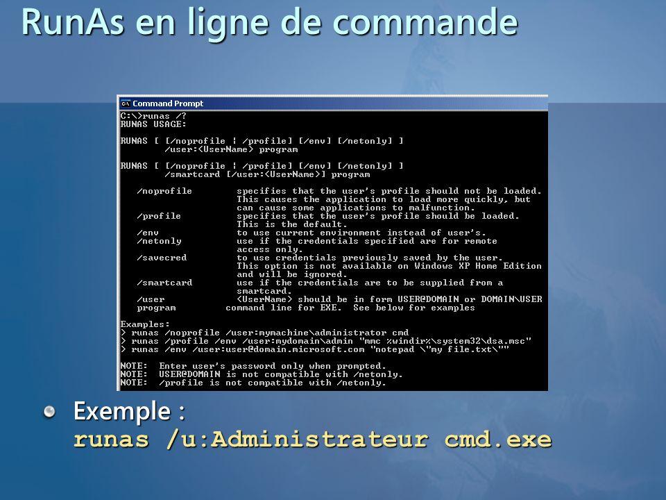 RunAs en ligne de commande Exemple : runas /u:Administrateur cmd.exe