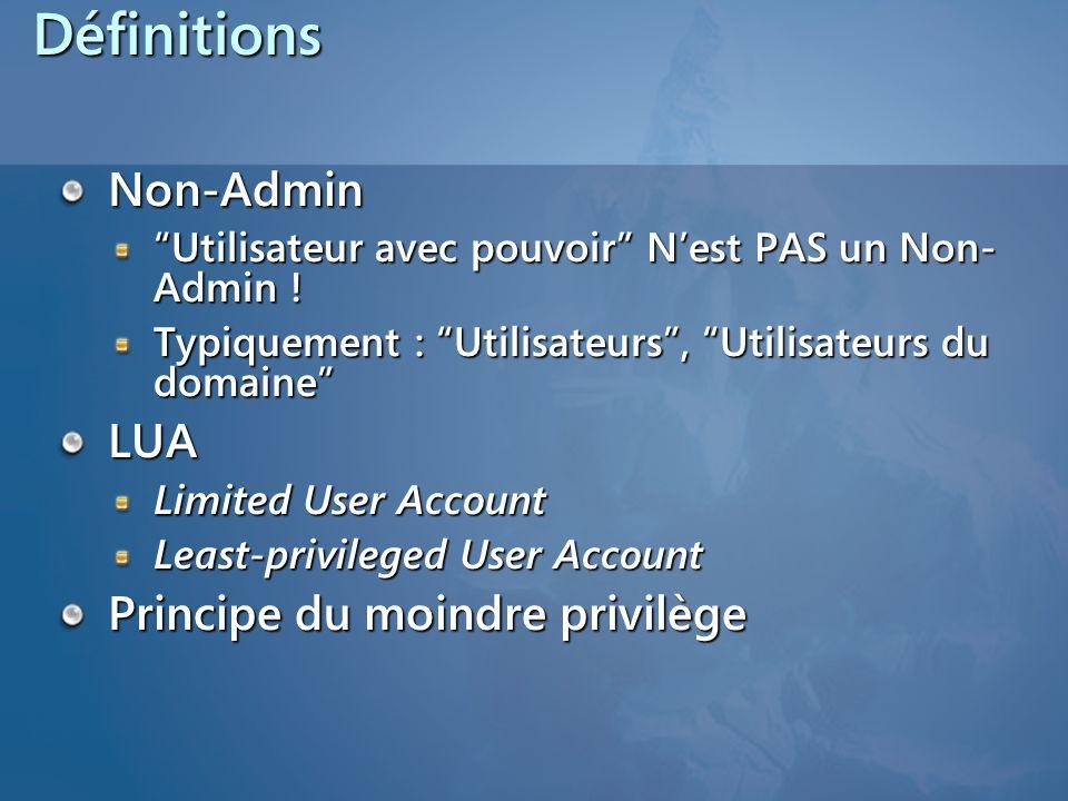 DéfinitionsNon-Admin Utilisateur avec pouvoir Nest PAS un Non- Admin ! Typiquement : Utilisateurs, Utilisateurs du domaine LUA Limited User Account Le