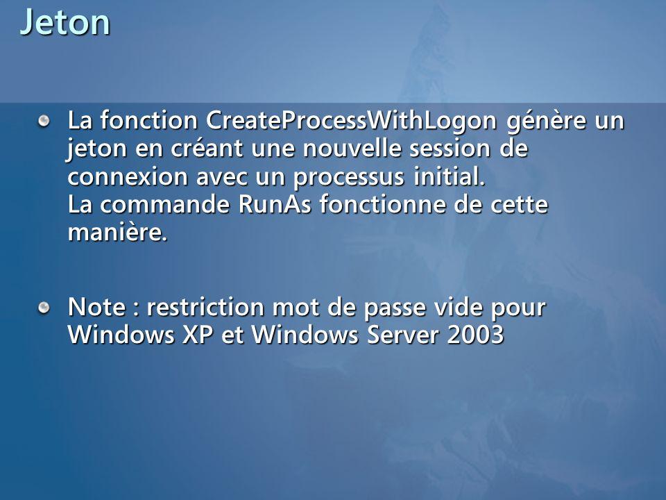 Jeton La fonction CreateProcessWithLogon génère un jeton en créant une nouvelle session de connexion avec un processus initial. La commande RunAs fonc