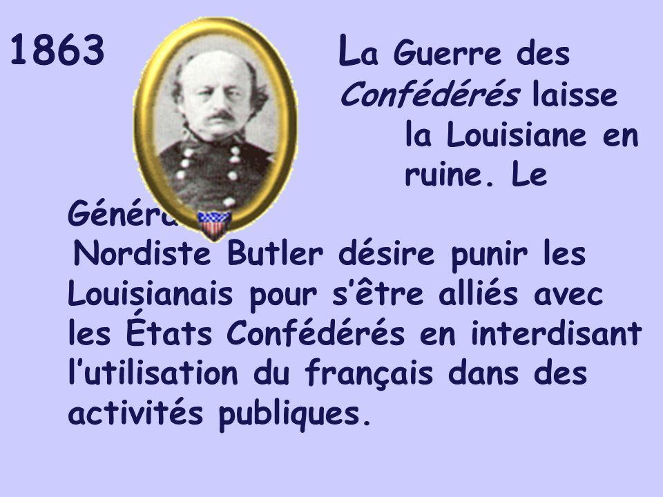 1863L a Guerre des Confédérés laisse la Louisiane en ruine. Le Général Nordiste Butler désire punir les Louisianais pour sêtre alliés avec les États C