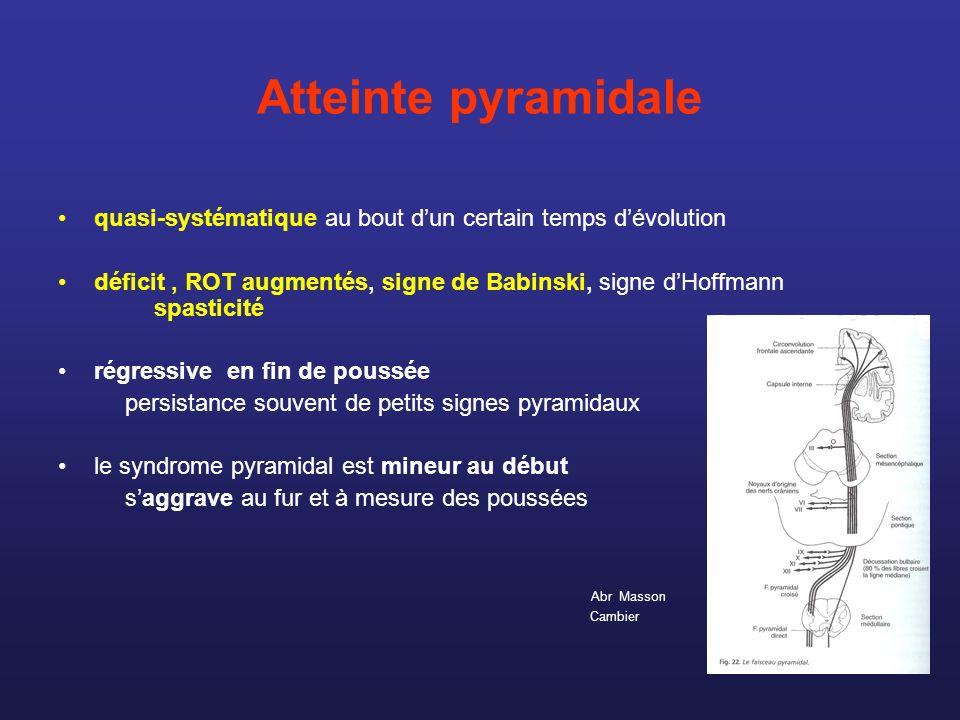 Atteinte pyramidale quasi-systématique au bout dun certain temps dévolution déficit, ROT augmentés, signe de Babinski, signe dHoffmann spasticité régr