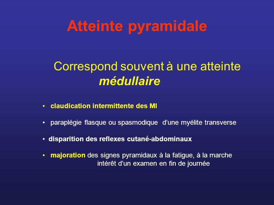 Atteinte pyramidale Correspond souvent à une atteinte médullaire claudication intermittente des MI paraplégie flasque ou spasmodique dune myélite tran