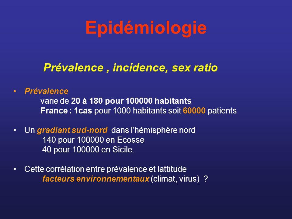 Epidémiologie La SEP nexiste pas dans certains groupes ethniques ( inuits, amérindiens, maoris, océaniens) facteur génétique Incidence : 1 à 3 pour 100000 habitants (1000 à 2000 nouveaux patient/an) Le sex ratio est 1,7 femmes pour 1 homme Prévalence, incidence, sex ratio