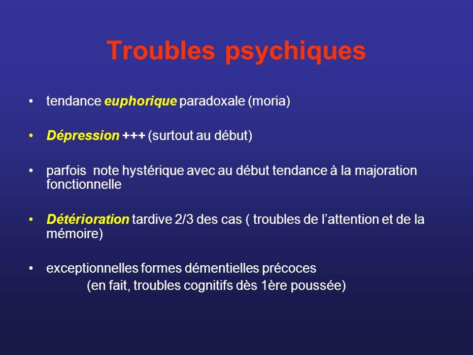 Troubles psychiques tendance euphorique paradoxale (moria) Dépression +++ (surtout au début) parfois note hystérique avec au début tendance à la major