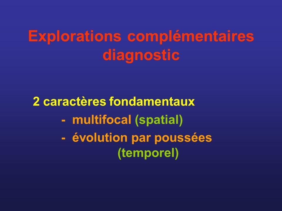 Explorations complémentaires diagnostic 2 caractères fondamentaux - multifocal (spatial) - évolution par poussées (temporel)