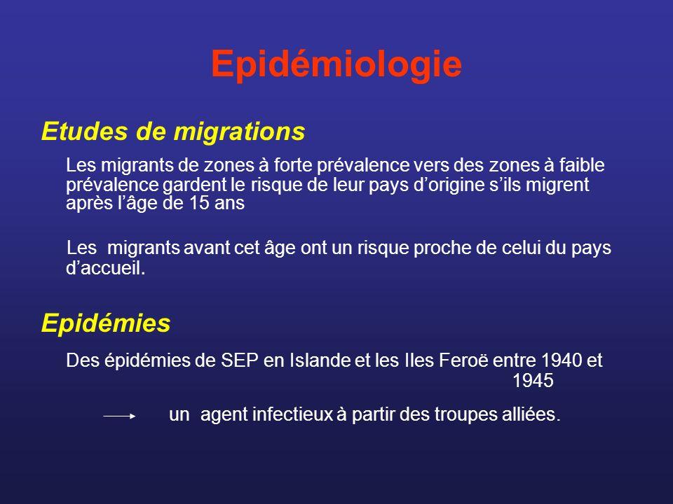 Epidémiologie Cas familiaux et études de jumeaux - Le risque de SEP est multiplié par 20 à 50 chez un patient ayant un parent du 1er degré atteint de SEP.