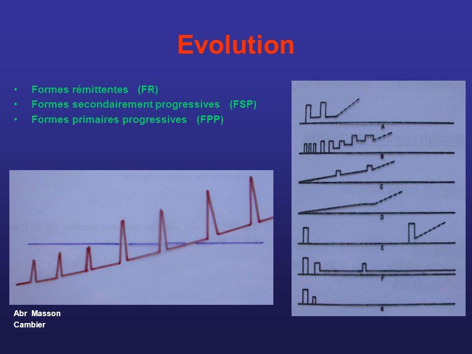 Evolution Formes rémittentes (FR) Formes secondairement progressives (FSP) Formes primaires progressives (FPP) Abr Masson Cambier