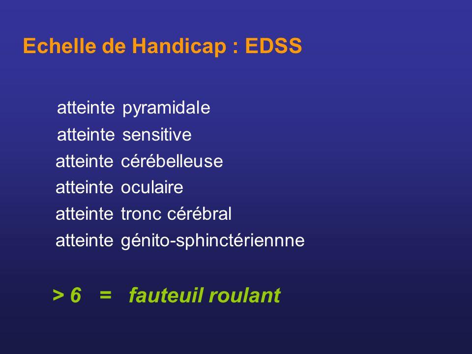 Echelle de Handicap : EDSS atteinte pyramidale atteinte sensitive atteinte cérébelleuse atteinte oculaire atteinte tronc cérébral atteinte génito-sphi