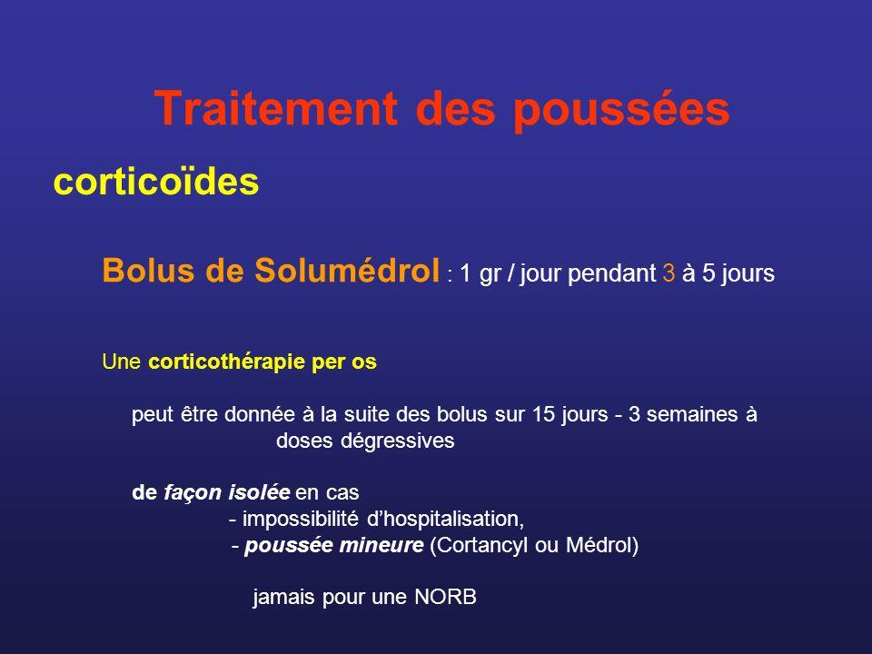 Traitement des poussées corticoïdes Bolus de Solumédrol : 1 gr / jour pendant 3 à 5 jours Une corticothérapie per os peut être donnée à la suite des b