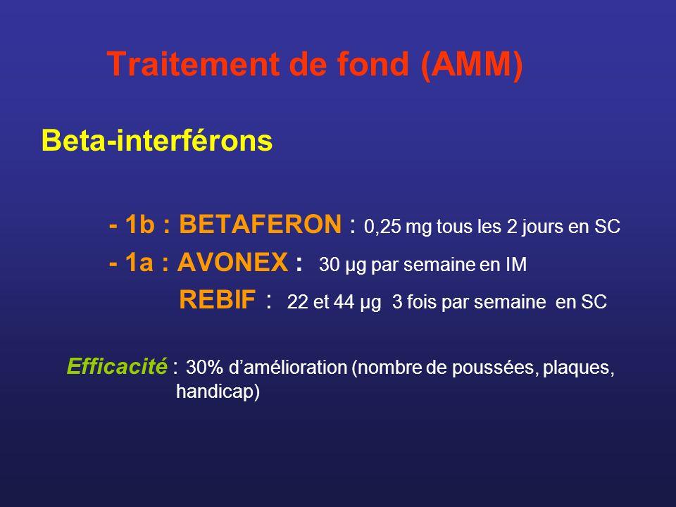 Traitement de fond (AMM) Beta-interférons - 1b : BETAFERON : 0,25 mg tous les 2 jours en SC - 1a : AVONEX : 30 µg par semaine en IM REBIF : 22 et 44 µ