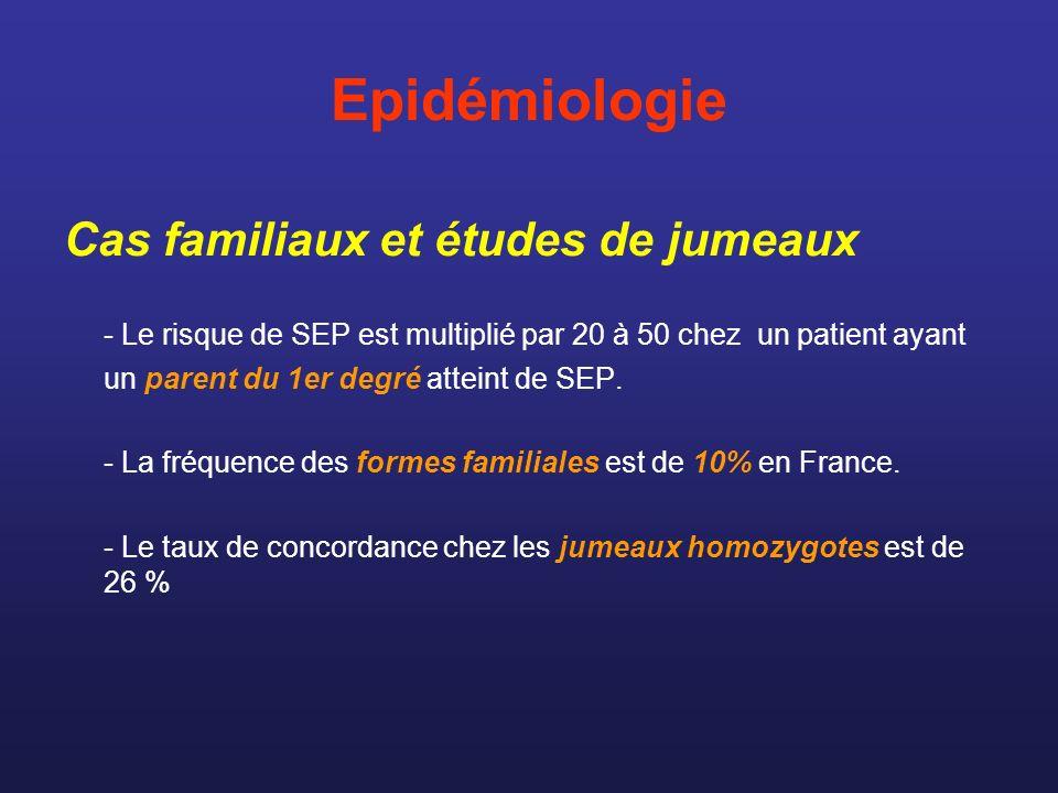 Epidémiologie Cas familiaux et études de jumeaux - Le risque de SEP est multiplié par 20 à 50 chez un patient ayant un parent du 1er degré atteint de