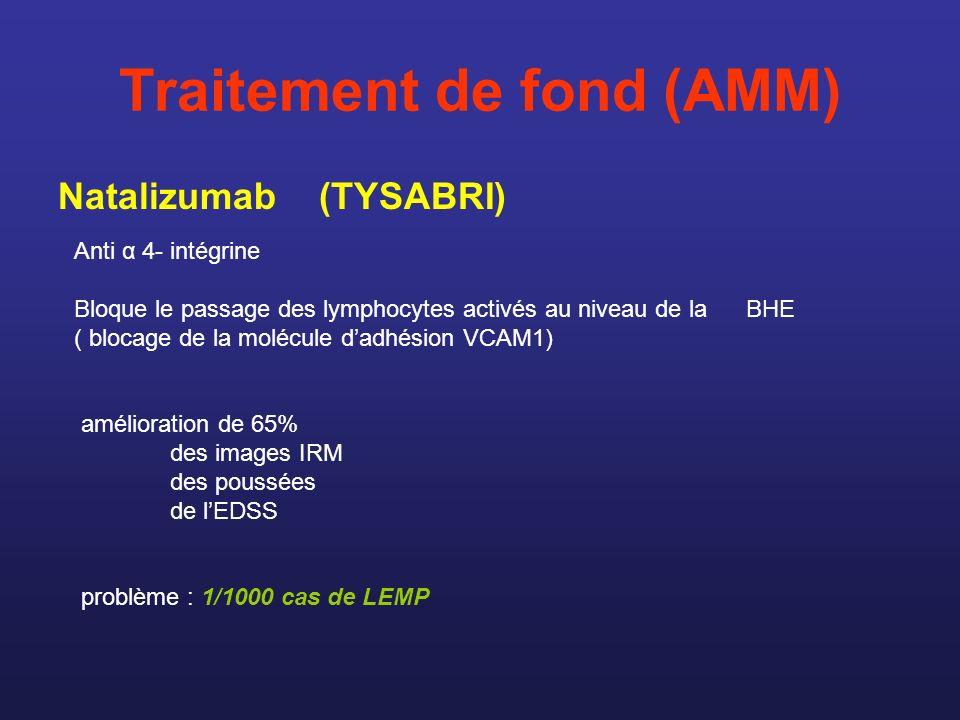 Traitement de fond (AMM) Natalizumab (TYSABRI) Anti α 4- intégrine Bloque le passage des lymphocytes activés au niveau de la BHE ( blocage de la moléc