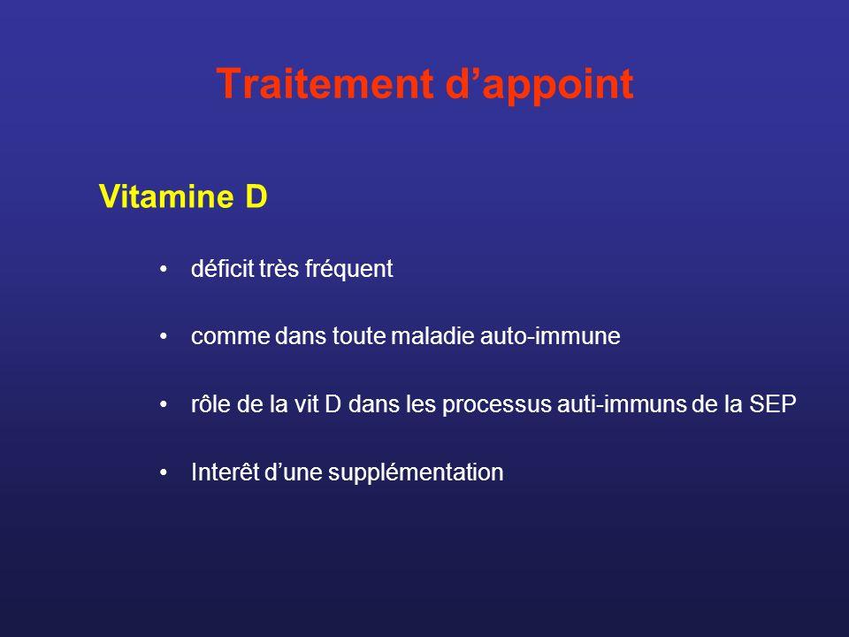 Traitement dappoint déficit très fréquent comme dans toute maladie auto-immune rôle de la vit D dans les processus auti-immuns de la SEP Interêt dune