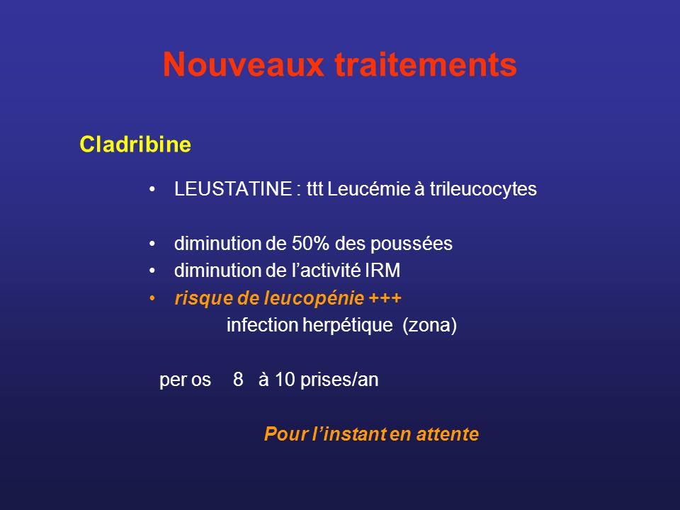 Nouveaux traitements LEUSTATINE : ttt Leucémie à trileucocytes diminution de 50% des poussées diminution de lactivité IRM risque de leucopénie +++ inf
