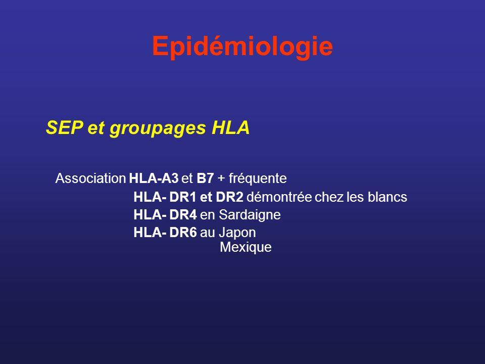 Epidémiologie Association HLA-A3 et B7 + fréquente HLA- DR1 et DR2 démontrée chez les blancs HLA- DR4 en Sardaigne HLA- DR6 au Japon Mexique SEP et gr