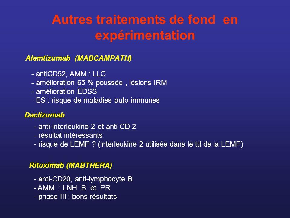 Autres traitements de fond en expérimentation Alemtizumab (MABCAMPATH) - antiCD52, AMM : LLC - amélioration 65 % poussée, lésions IRM - amélioration E