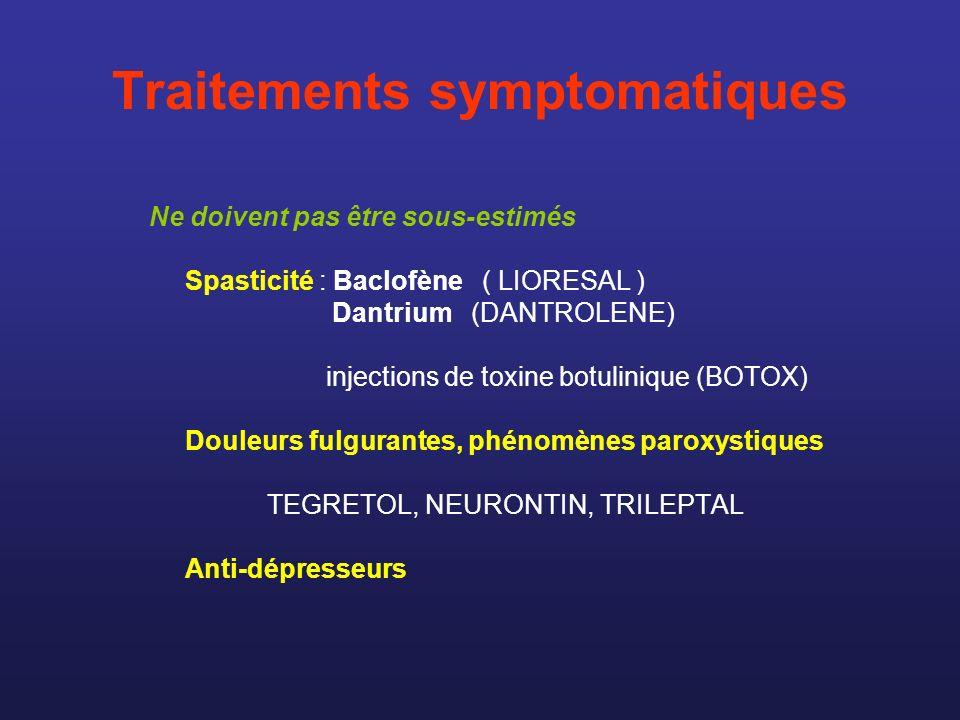 Traitements symptomatiques Ne doivent pas être sous-estimés Spasticité : Baclofène ( LIORESAL ) Dantrium (DANTROLENE) injections de toxine botulinique