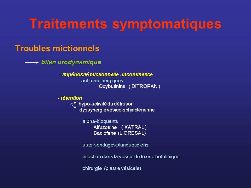 Traitements symptomatiques Troubles mictionnels bilan urodynamique - impériosité mictionnelle, incontinence anti-cholinergiques Oxybutinine ( DITROPAN