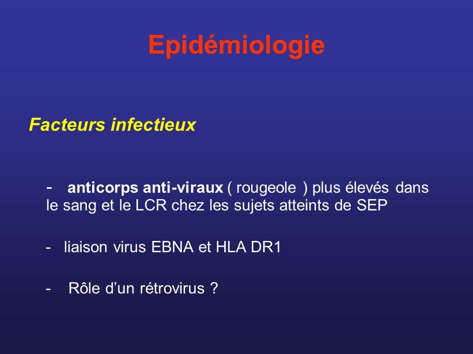 Epidémiologie Facteurs infectieux - anticorps anti-viraux ( rougeole ) plus élevés dans le sang et le LCR chez les sujets atteints de SEP - liaison vi