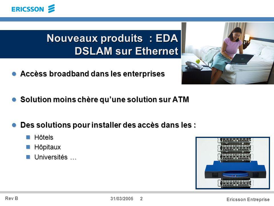 Rev B Ericsson Entreprise 31/03/20052 Nouveaux produits : EDA DSLAM sur Ethernet Accèss broadband dans les enterprises Accèss broadband dans les enter