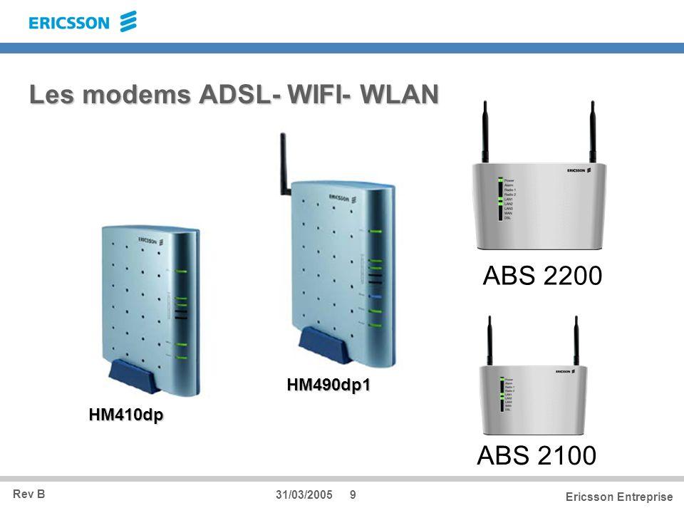 Rev B Ericsson Entreprise 31/03/20059 Les modems ADSL- WIFI- WLAN HM410dp HM490dp1 ABS 2200 ABS 2100