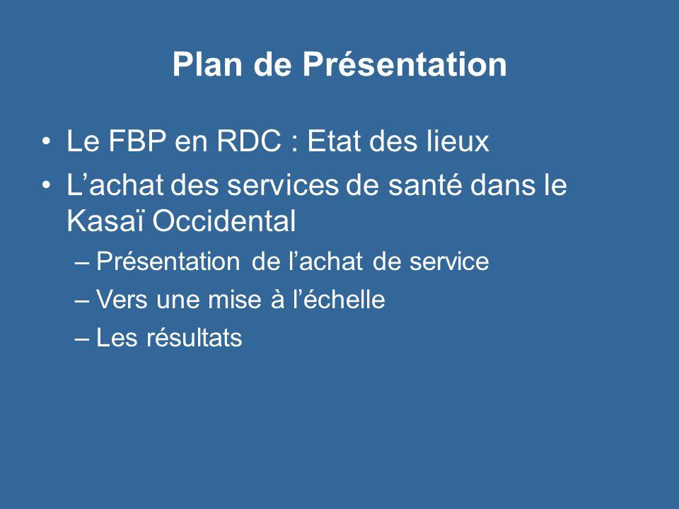 Plan de Présentation Le FBP en RDC : Etat des lieux Lachat des services de santé dans le Kasaï Occidental –Présentation de lachat de service –Vers une