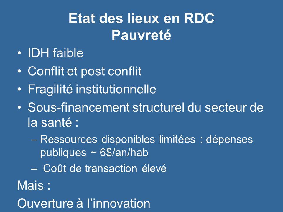 Etat des lieux en RDC Pauvreté IDH faible Conflit et post conflit Fragilité institutionnelle Sous-financement structurel du secteur de la santé : –Res
