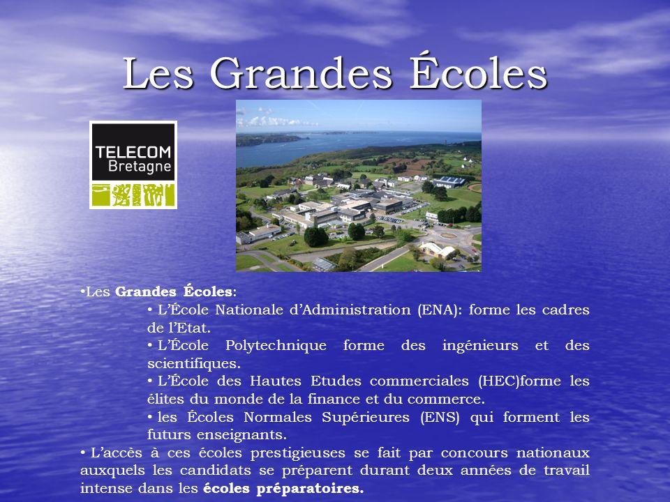 Les Grandes Écoles Les Grandes Écoles : LÉcole Nationale dAdministration (ENA): forme les cadres de lEtat.