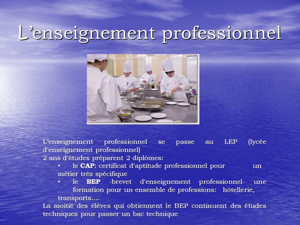 L enseignement professionnel Lenseignement professionnel se passe au LEP (lycée d'enseignement professionnel) 2 ans d'études préparent 2 diplômes: le