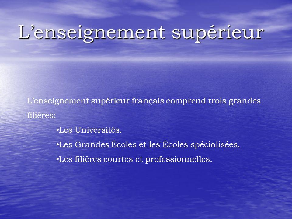 Lenseignement supérieur Lenseignement supérieur français comprend trois grandes filières: Les Universités. Les Grandes Écoles et les Écoles spécialisé