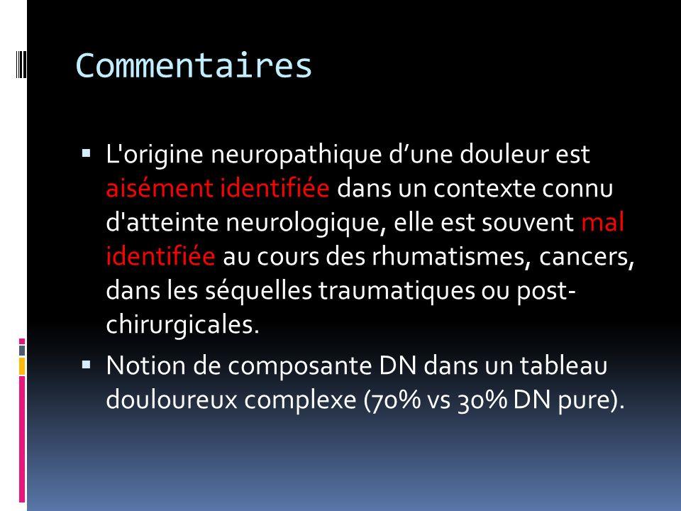 Commentaires L'origine neuropathique dune douleur est aisément identifiée dans un contexte connu d'atteinte neurologique, elle est souvent mal identif