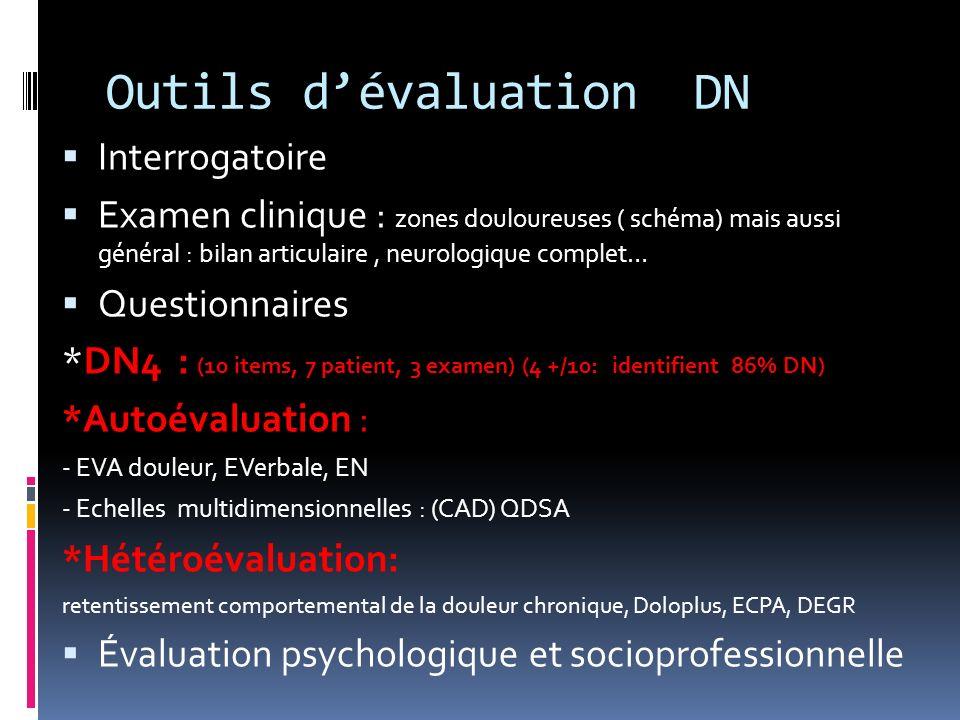 Outils dévaluation DN Interrogatoire Examen clinique : zones douloureuses ( schéma) mais aussi général : bilan articulaire, neurologique complet… Ques