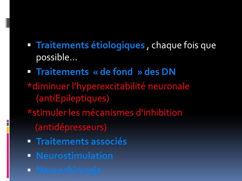 Traitements étiologiques, chaque fois que possible… Traitements « de fond » des DN *diminuer lhyperexcitabilité neuronale (antiEpileptiques) *stimuler