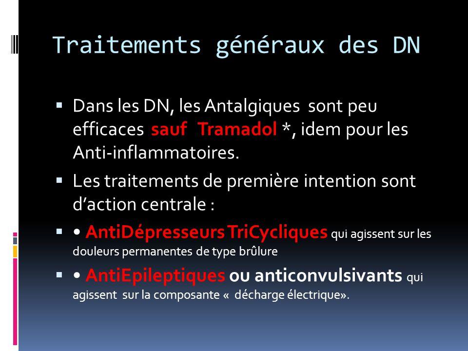 Traitements généraux des DN Dans les DN, les Antalgiques sont peu efficaces sauf Tramadol *, idem pour les Anti-inflammatoires. Les traitements de pre