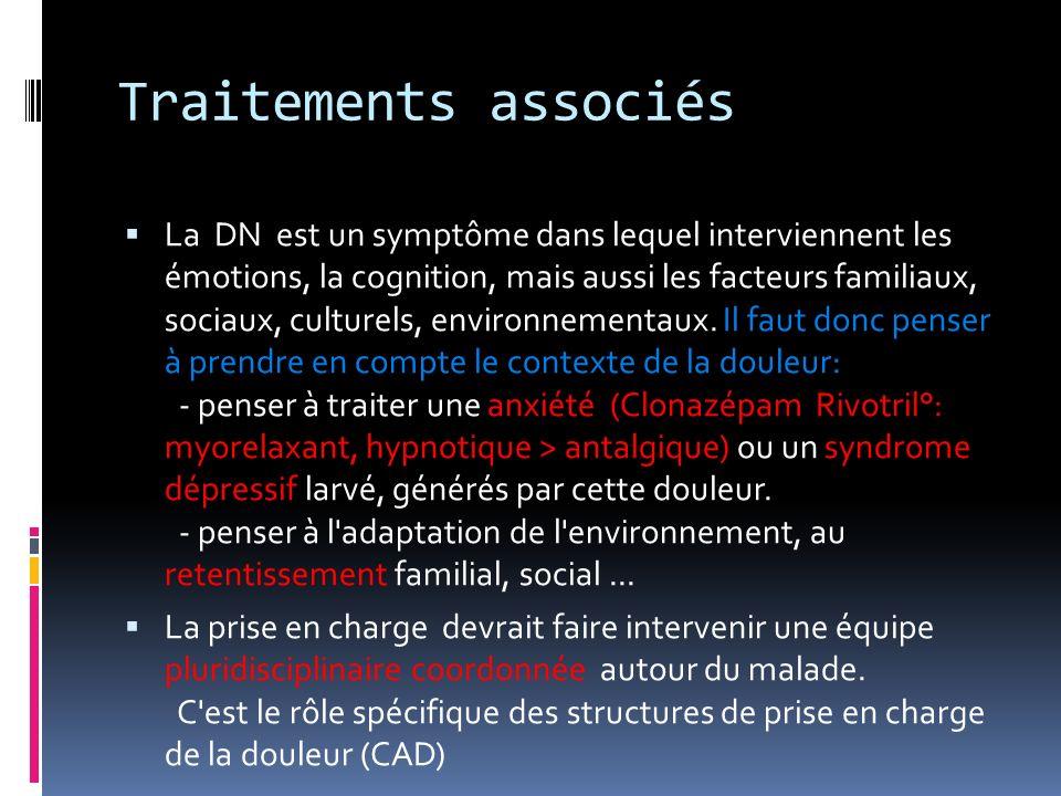 Traitements associés La DN est un symptôme dans lequel interviennent les émotions, la cognition, mais aussi les facteurs familiaux, sociaux, culturels