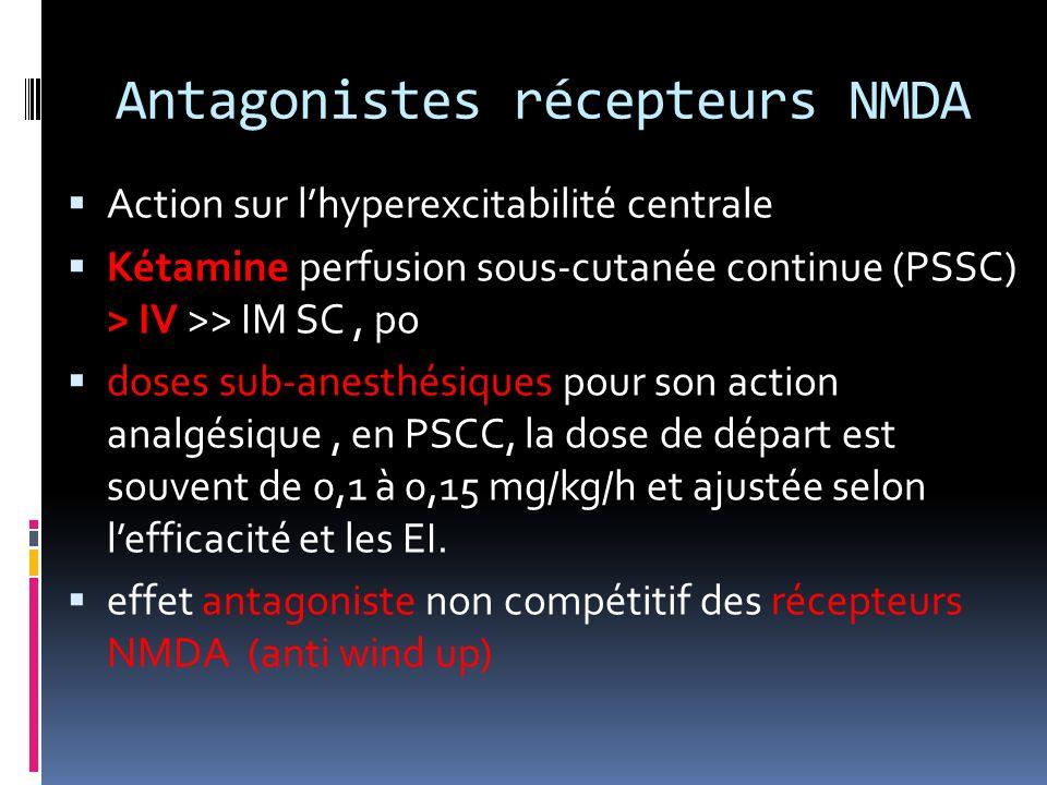 Antagonistes récepteurs NMDA Action sur lhyperexcitabilité centrale Kétamine perfusion sous-cutanée continue (PSSC) > IV >> IM SC, po doses sub-anesth