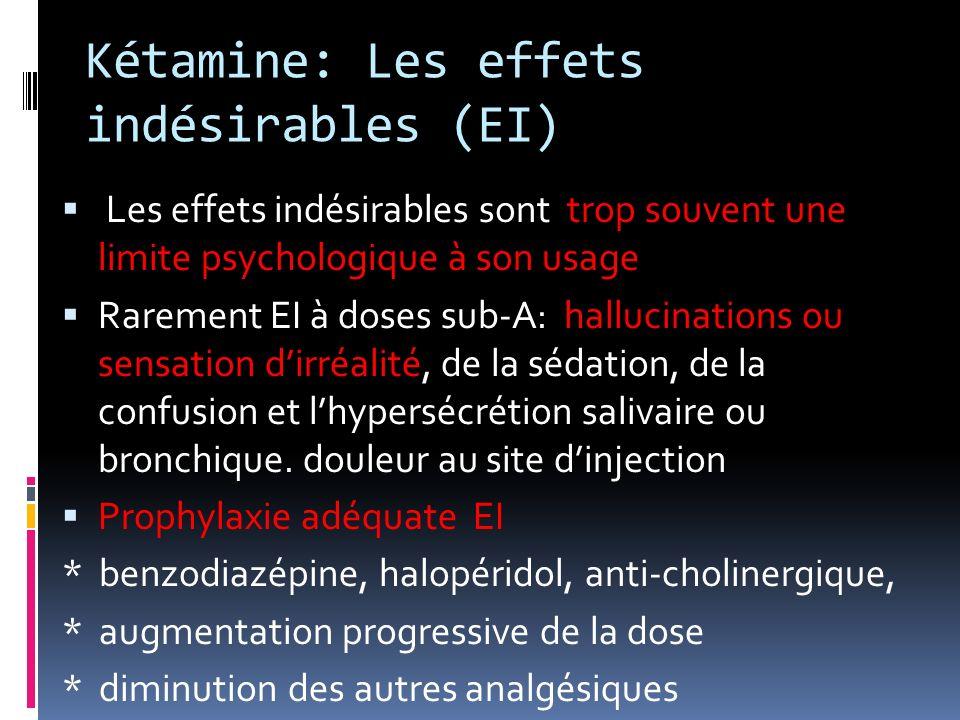 Kétamine: Les effets indésirables (EI) Les effets indésirables sont trop souvent une limite psychologique à son usage Rarement EI à doses sub-A: hallu