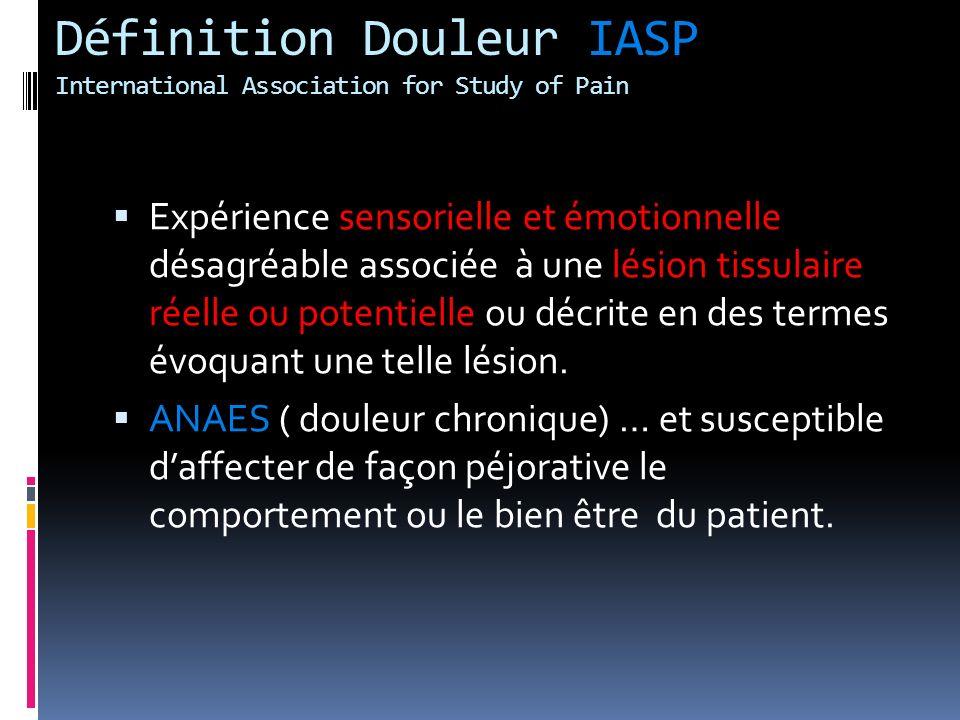 Définition Douleur IASP International Association for Study of Pain Expérience sensorielle et émotionnelle désagréable associée à une lésion tissulair