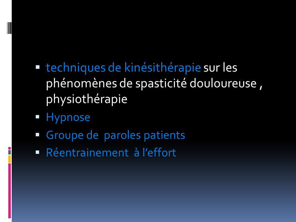 techniques de kinésithérapie sur les phénomènes de spasticité douloureuse, physiothérapie Hypnose Groupe de paroles patients Réentrainement à leffort
