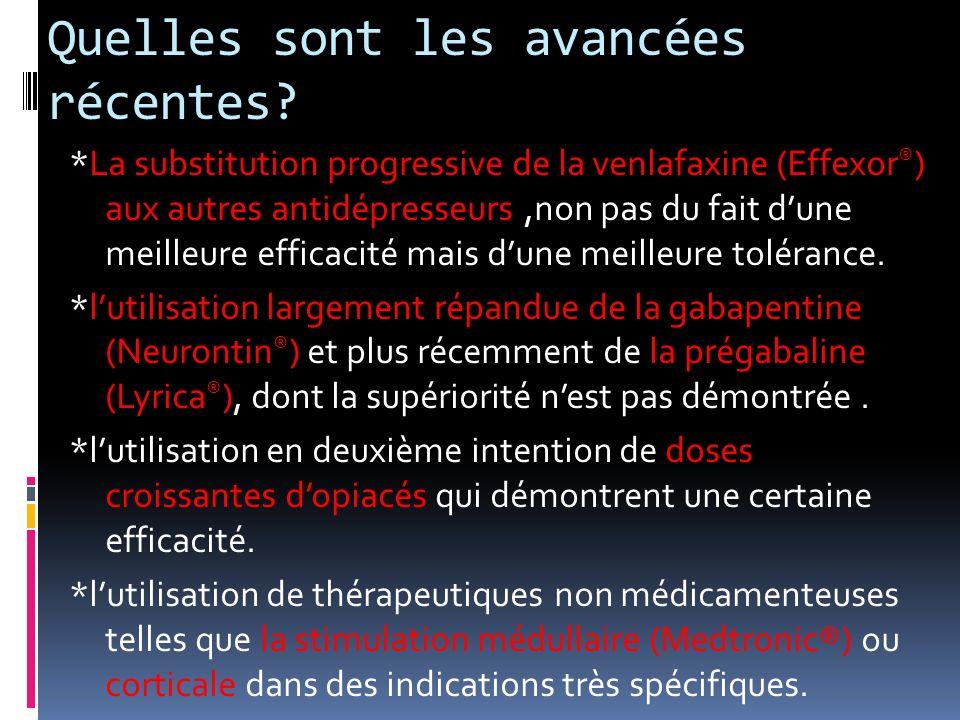 Quelles sont les avancées récentes? *La substitution progressive de la venlafaxine (Effexor ® ) aux autres antidépresseurs,non pas du fait dune meille