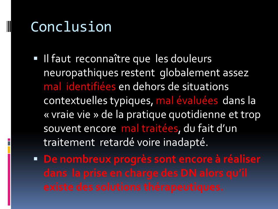Conclusion Il faut reconnaître que les douleurs neuropathiques restent globalement assez mal identifiées en dehors de situations contextuelles typique
