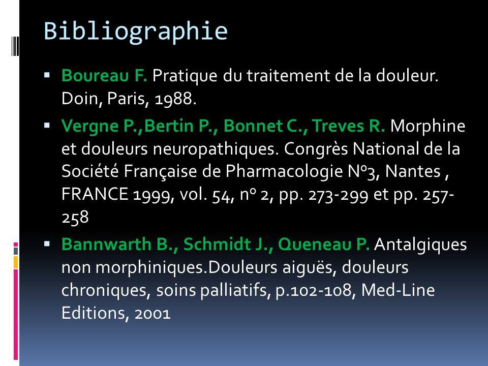 Bibliographie Boureau F. Pratique du traitement de la douleur. Doin, Paris, 1988. Vergne P.,Bertin P., Bonnet C., Treves R. Morphine et douleurs neuro