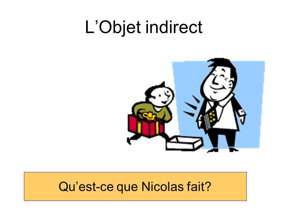 LObjet Indirect Lobjet indirect est: à au à la aux à l + une personne ou un animal